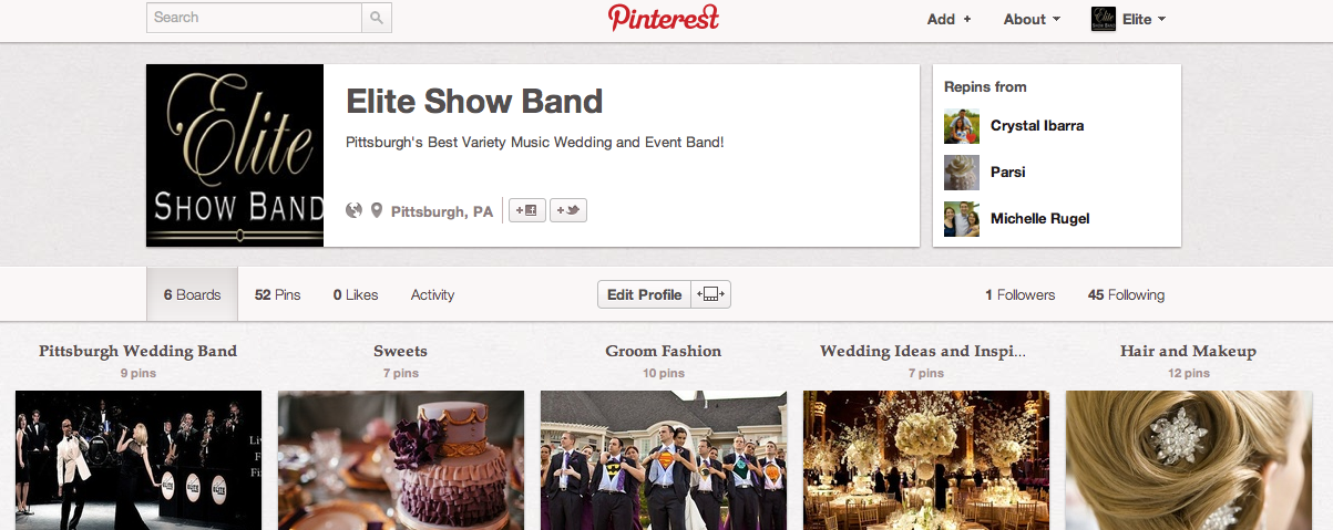 Elite Show Band (Pittsburgh Wedding Band) Pinterest Account